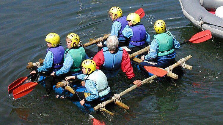 Raft building team building activity