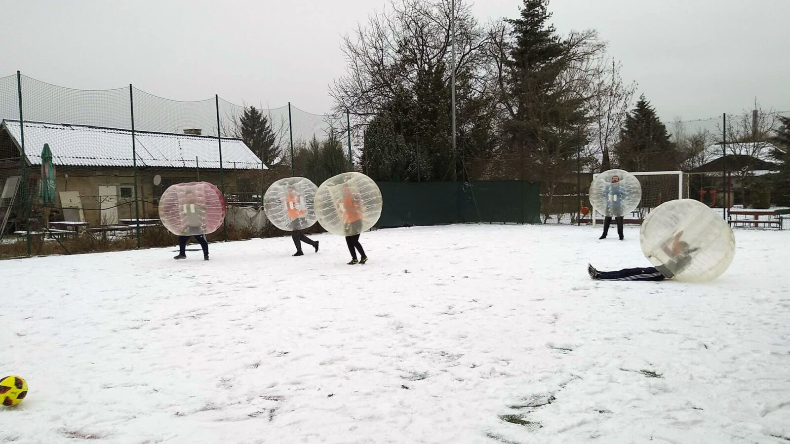 Bubble football in winter