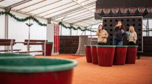Giant prosecco pong